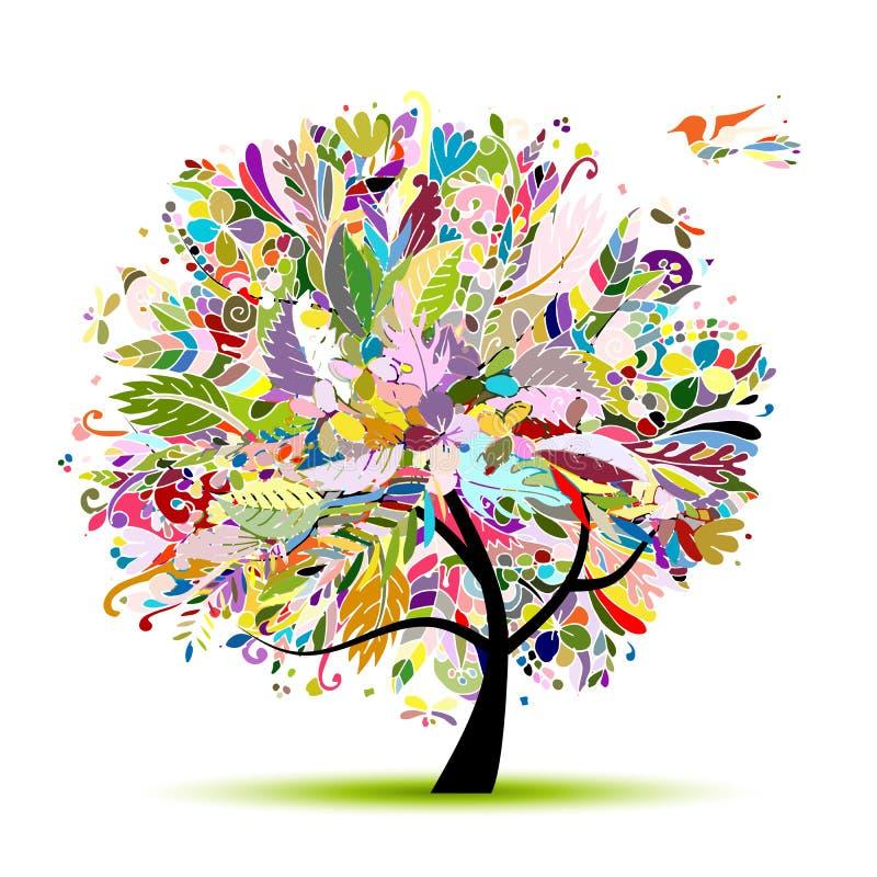 Tropikalny kwiecisty drzewo dla twój projekta ilustracja wektor