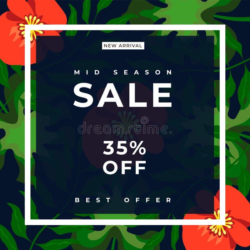 Tropikalny kwiecisty tło z białą uderzenie ramą 35% sprzedaży sztandaru szablonu projekt Du?ej sprzeda?y specjalna oferta czerwon royalty ilustracja