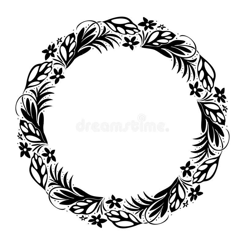 Tropikalny kwiecisty wianek, dzikie jagody data save Ręka Rysująca grafika Miłości Bohemia pojęcie dla ślubnego zaproszenia ilustracja wektor