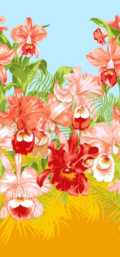 Tropikalny kwiecisty wzór z orchideami i palma liśćmi royalty ilustracja