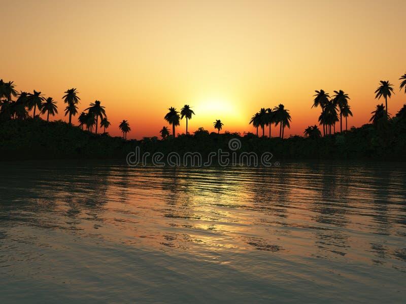 tropikalny laguna zmierzch ilustracja wektor