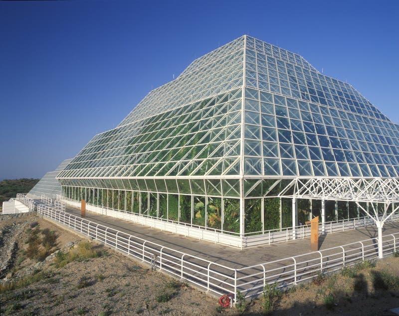 Tropikalny las deszczowy i żywe ćwiartki biosfera 2 przy Oracle w Tucson, AZ fotografia stock