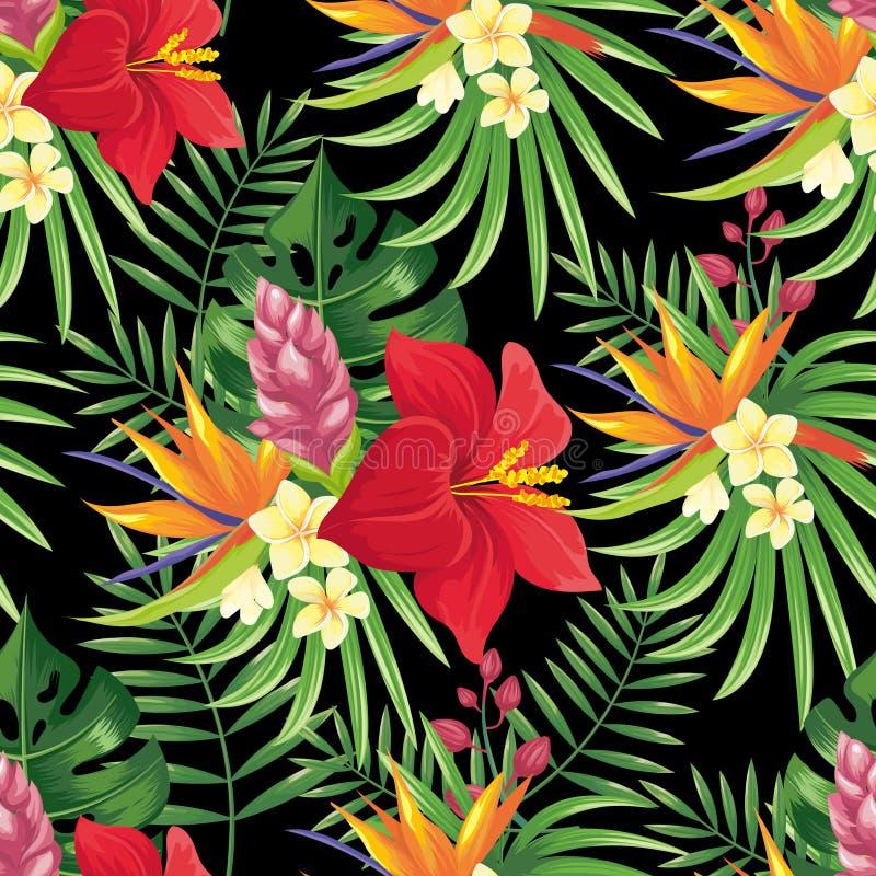 Tropikalny las deszczowy kwitnie bezszwowego wzór Tropikalny kwiat opuszcza, zwrotnik dżungli rośliny i egzotyczny kwiecisty gałę royalty ilustracja