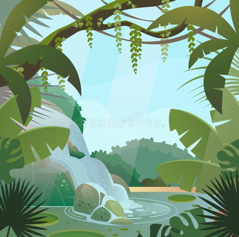 Tropikalny las deszczowy w dżungli z palmami i siklawą royalty ilustracja