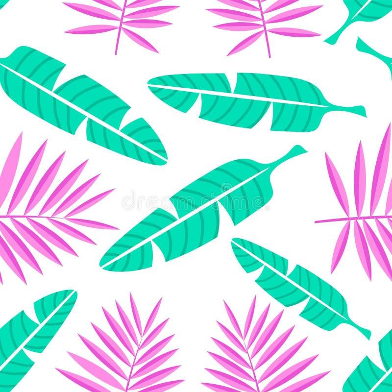 Tropikalny lata tło w mieszkanie stylu Palma liści wzór również zwrócić corel ilustracji wektora ilustracji