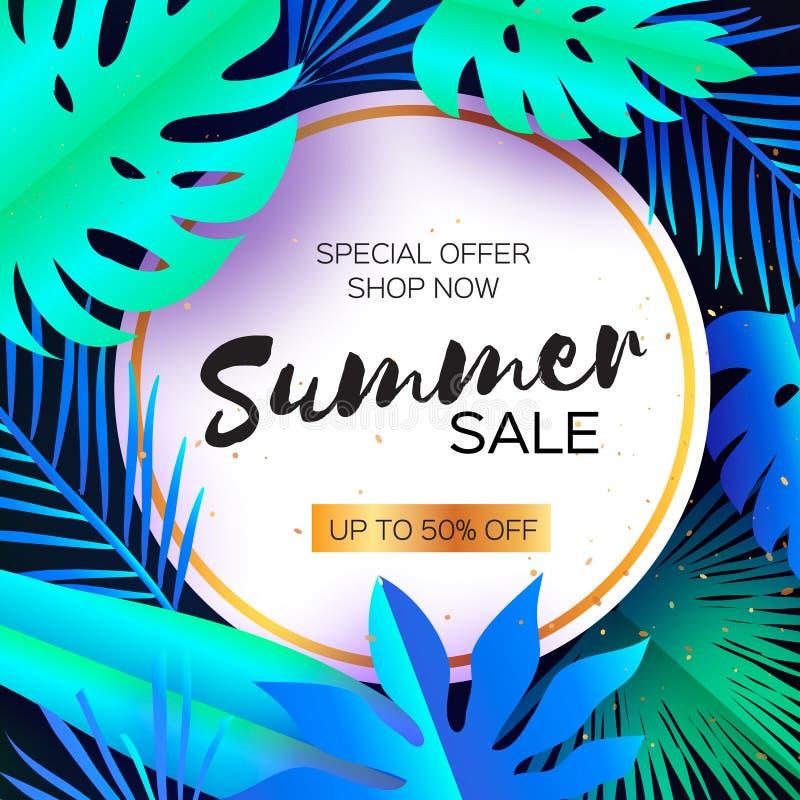 Tropikalny lato sprzedaży sztandar Palma liście, rośliny Egzota papieru rżnięta sztuka jastrząb tekst Origami Monstera dżungla kw ilustracja wektor