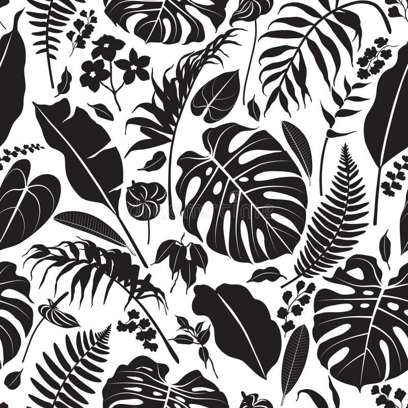 Tropikalny liść sylwetki wzór ilustracja wektor