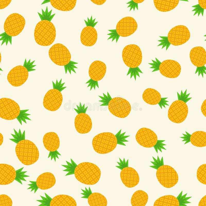Tropikalny modny bezszwowy wzór z ananasami zdrowa żywność Owocowy lato wzór, kolorowy druk dla projekta ilustracja wektor