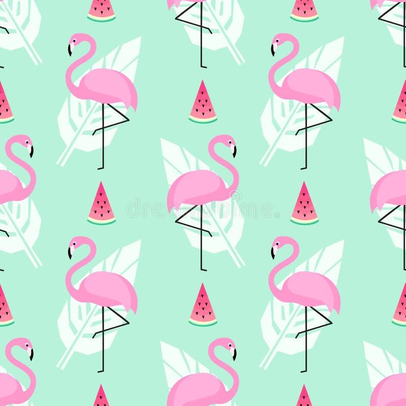 Tropikalny modny bezszwowy wzór z różowymi flamingami, arbuz i palmowi liście na mennicie, zieleniejemy tło ilustracja wektor