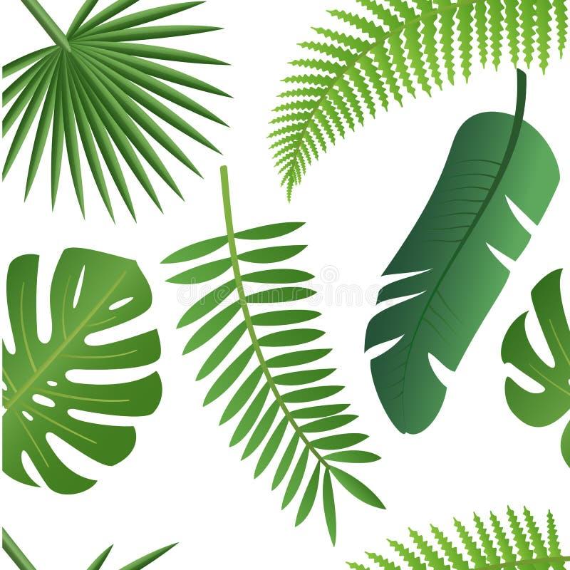 Tropikalny modny wzór z egzotycznymi liśćmi royalty ilustracja