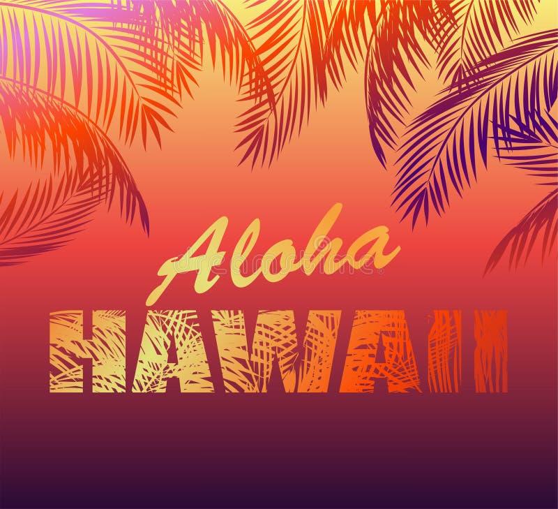 Tropikalny neonowy tło z Hawaje palmą i literowaniem Aloha opuszcza sylwetki dla t koszula, noc partyjnego plakata i inny, projek royalty ilustracja