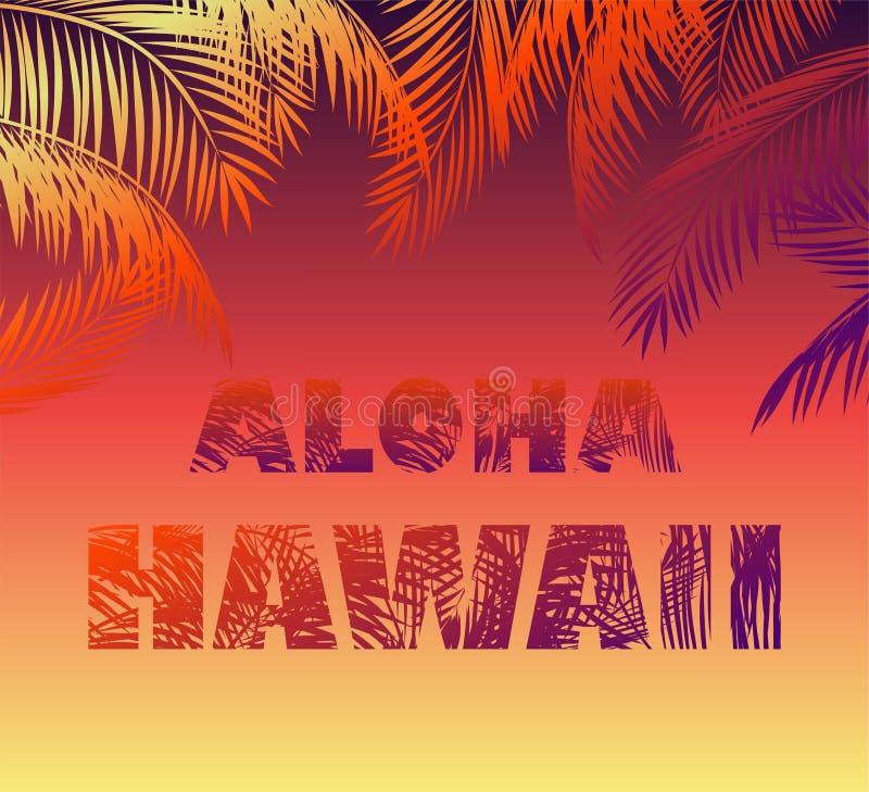 Tropikalny neonowy tło z kwiecistym Hawaje literowaniem, palmą Aloha i opuszcza sylwetki dla t koszula, noc partyjnego plakata i  royalty ilustracja