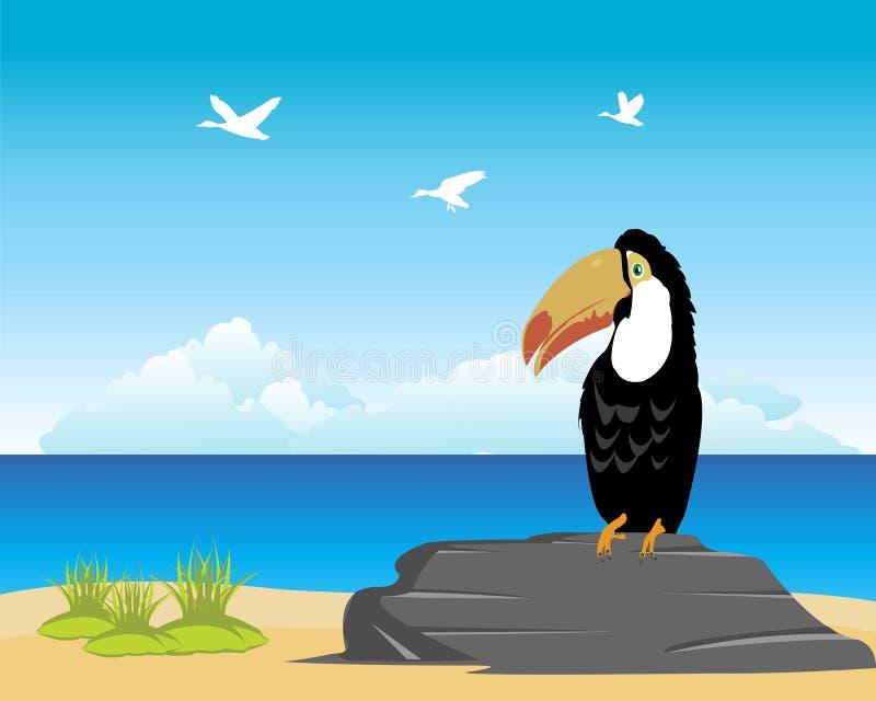 Tropikalny oceanside i plaża royalty ilustracja