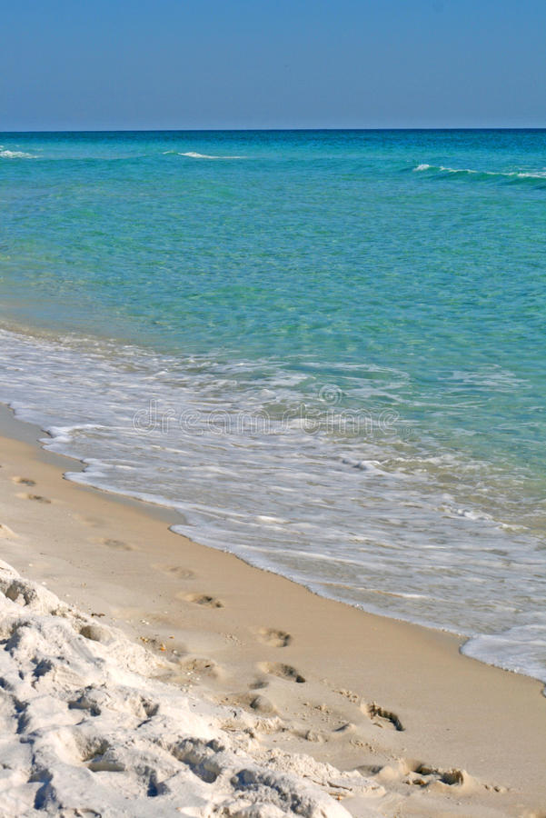 tropikalny odcisk stopy plażowy piasek zdjęcia stock