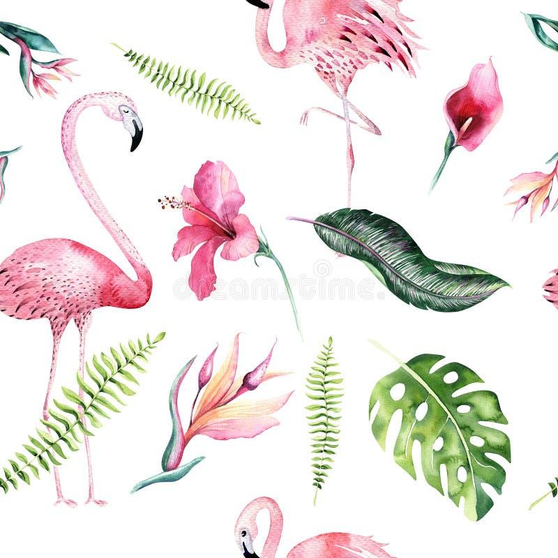 Tropikalny odosobniony bezszwowy wzór z flamingiem Akwarela zwrotnika rysunek, różany ptak i greenery drzewko palmowe, zwrotnik ilustracji
