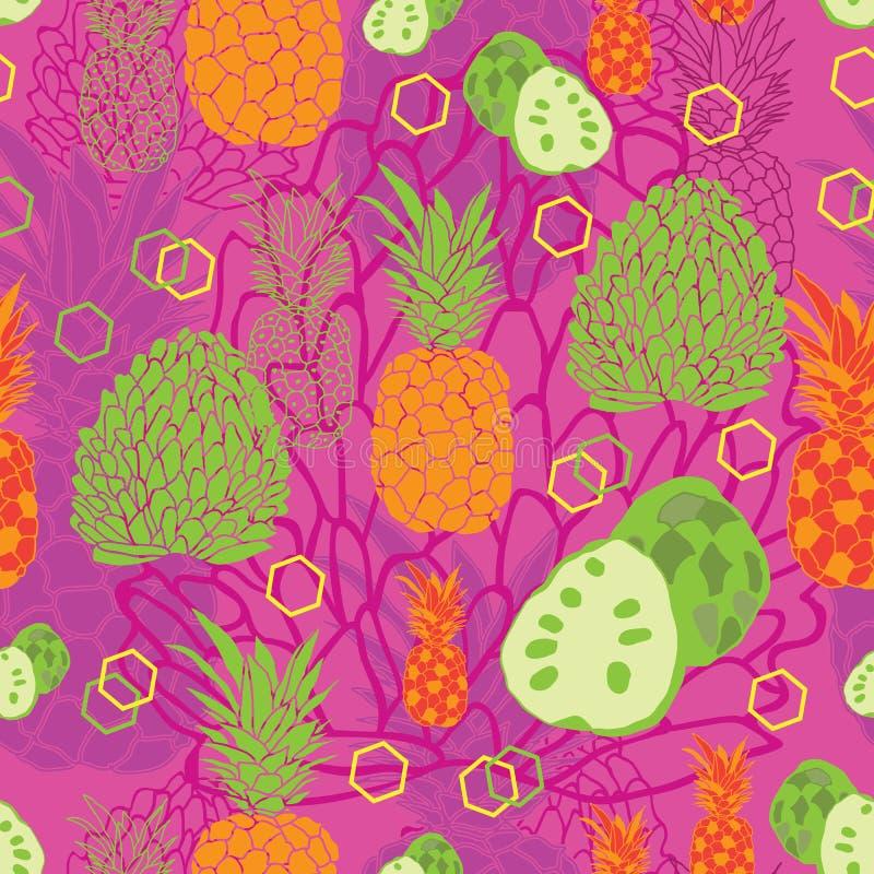 Tropikalny owoc zachwyt Bezszwowy powtórka wzoru tło w menchiach, pomarańcze, zieleni i kolorze żółtym, royalty ilustracja