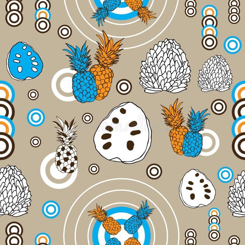 Tropikalny owoc zachwyt Bezszwowy powtórka wzoru tło w Pomarańczowym bielu i Brown royalty ilustracja