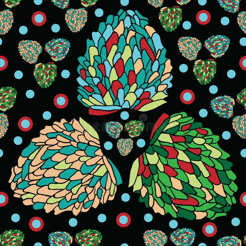 Tropikalny owoc zachwyt Bezszwowy powtórka wzoru tło w zieleni, benzyna, błękit, rewolucjonistka, kolor żółty, na czerni royalty ilustracja