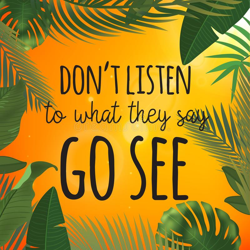 Tropikalny palma liści projekt dla tekst karty No słucha co mówją iść widzią wycenę ilustracji