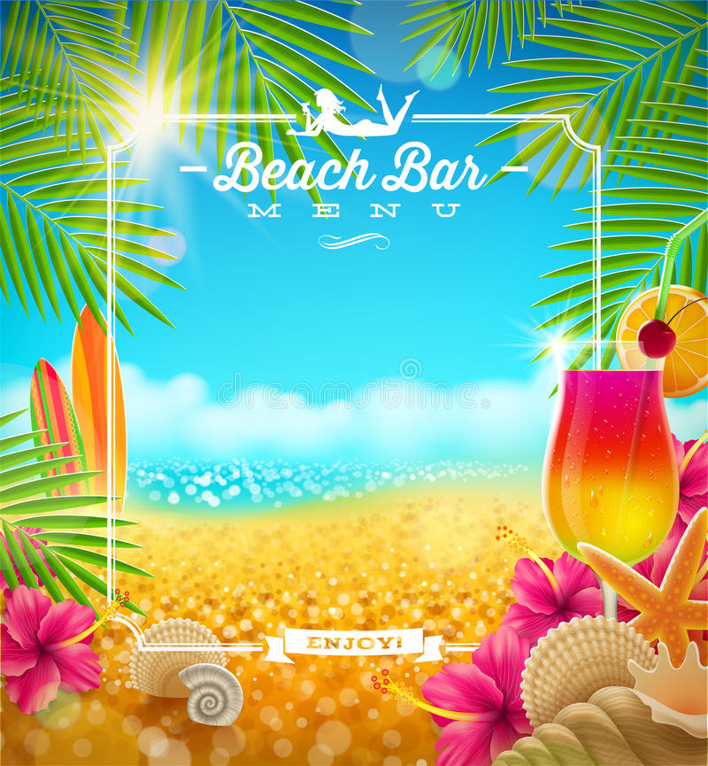 Tropikalny plaża baru menu ilustracji