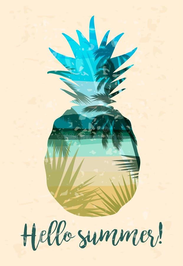 Tropikalny plażowy lato druk z sloganem dla koszulek, ilustracja wektor