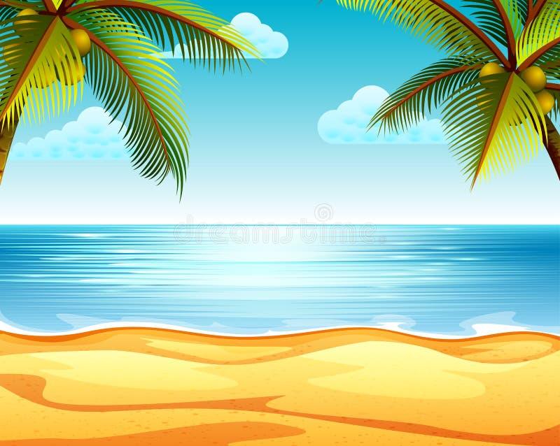 Tropikalny plażowy widok z piaskowatą plażą dwa kokosowym drzewem w obich stronach i royalty ilustracja