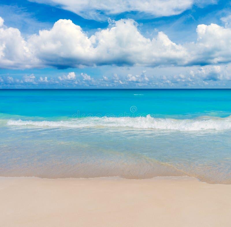 Tropikalny Pogodny morze plaży tło zdjęcia stock