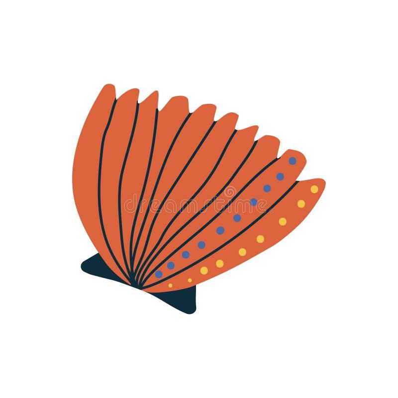 Tropikalny Pomarańczowy Shell, Morska Podwodna Seashell wektoru ilustracja royalty ilustracja