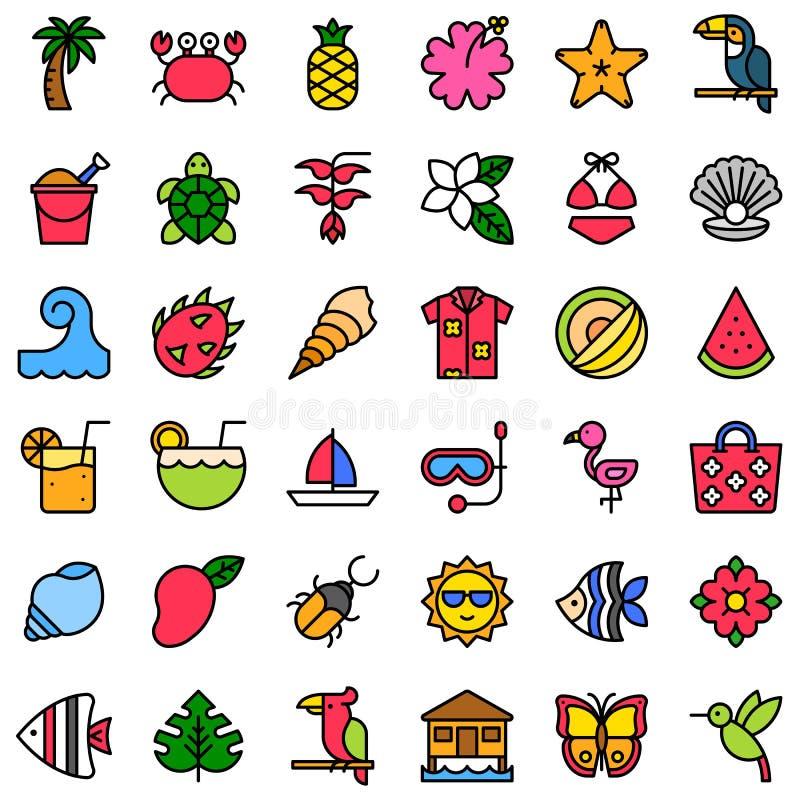 Tropikalny powiązany wektorowy ikona set, wypełniający styl ilustracja wektor