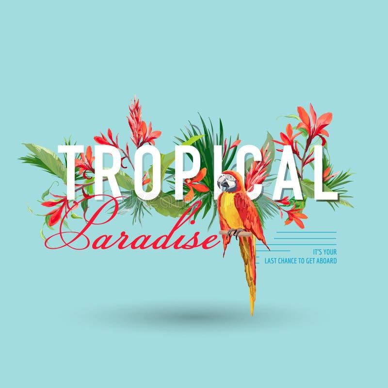 Tropikalny ptak i kwiatu Graficzny projekt dla Tshirt, moda, druk ilustracji