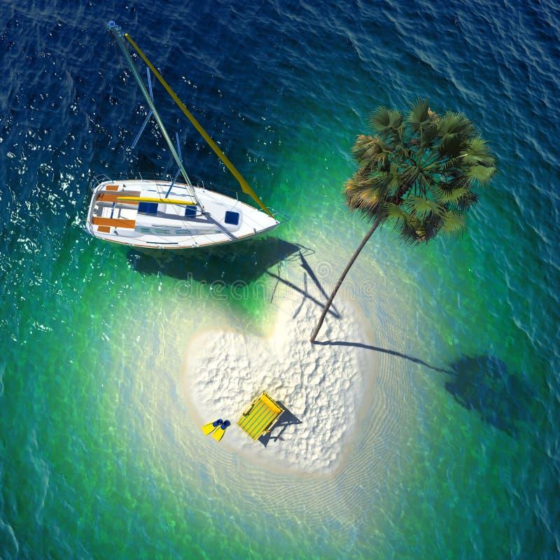 Tropikalny raj na małej wyspie ilustracji