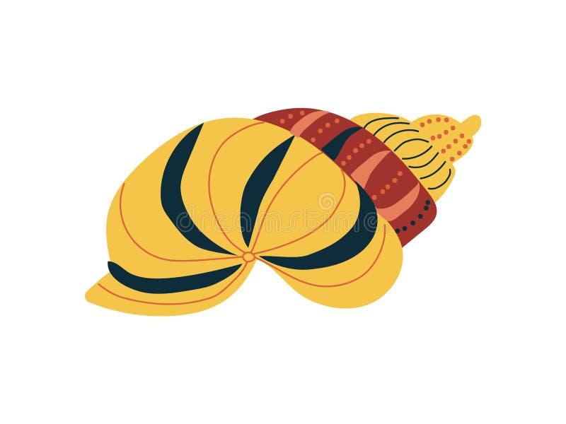 Tropikalny Shell, Morska Podwodna Nadwodna Żółta Seashell wektoru ilustracja ilustracji