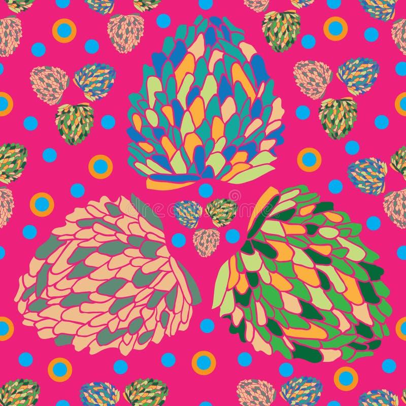 Tropikalny SpringFruit zachwyt Bezszwowy powtórka wzoru tło w menchiach, pomarańcze, zieleni i kolorze żółtym, ilustracji