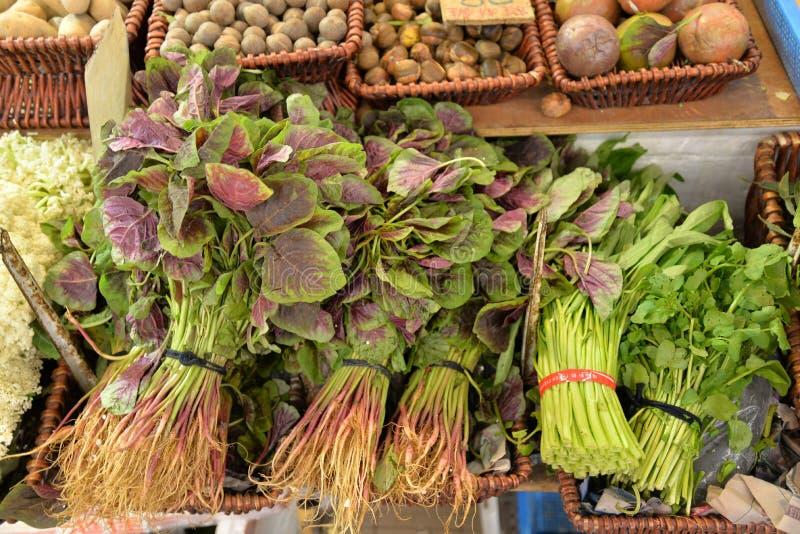 Tropikalny stojak warzywny na targu ulicznym zdjęcia royalty free