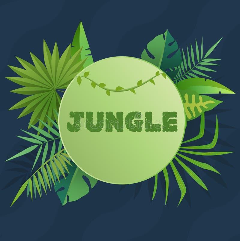 Tropikalny sztandar z zielonymi palmowymi liśćmi Zielonej dżungli sezonowy plakatowy szablon dla druku lub sieci również zwrócić  royalty ilustracja