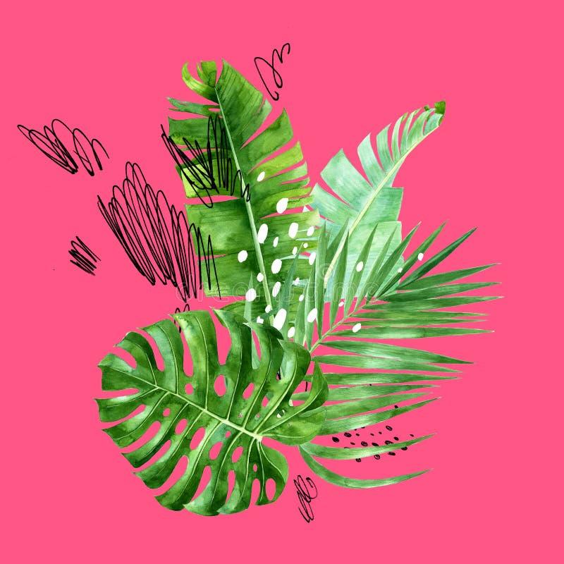 Tropikalny tło z akwarela palmowymi liśćmi ilustracji