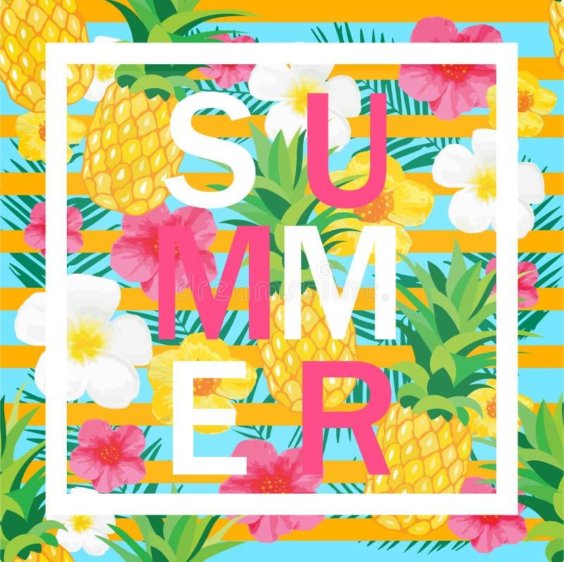 Tropikalny tło z ananasem, egzotów kwiaty Lato listy ilustracji