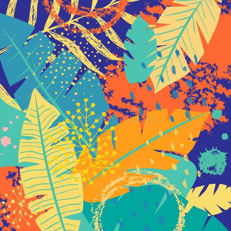 Tropikalny tło z Kolorowymi liśćmi i teksturami ilustracji