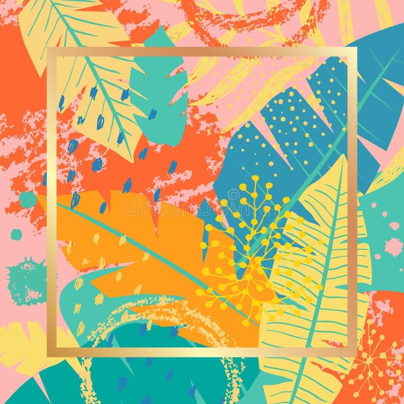 Tropikalny tło z liśćmi i teksturami royalty ilustracja