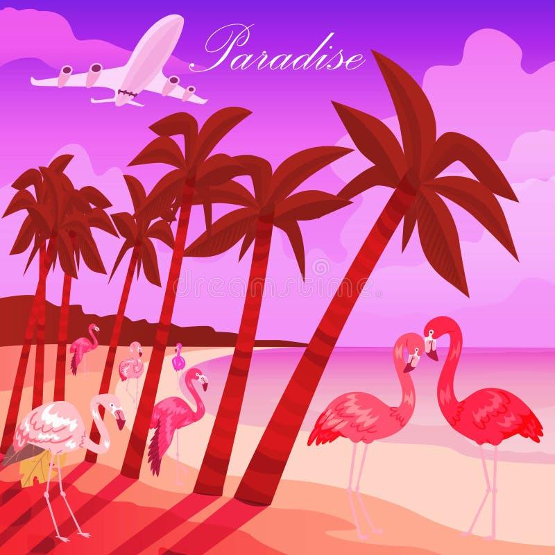 tropikalny t?o raj Lato czasu sztandaru wektoru ilustracja Różowa samiec i kobiety flaminga para egzot ilustracji