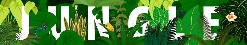 tropikalny ulistnienia szczegółowy rysunek kwiecisty pochodzenie wektora Wektorowy dżungla tropikalnego lasu deszczowego sztandar royalty ilustracja