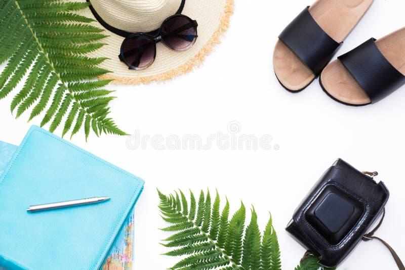 Tropikalny urlopowy heblowanie Słomy plażowy sunhat, słońc szkła, mapa, kamera, liść paproć na bielu Odgórny widok z kopii przest fotografia royalty free