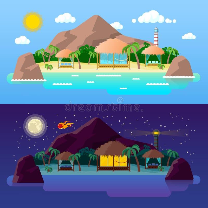 Tropikalny wyspa krajobraz z górami i bungalowami na plaży przy dniem i nocą ilustracji