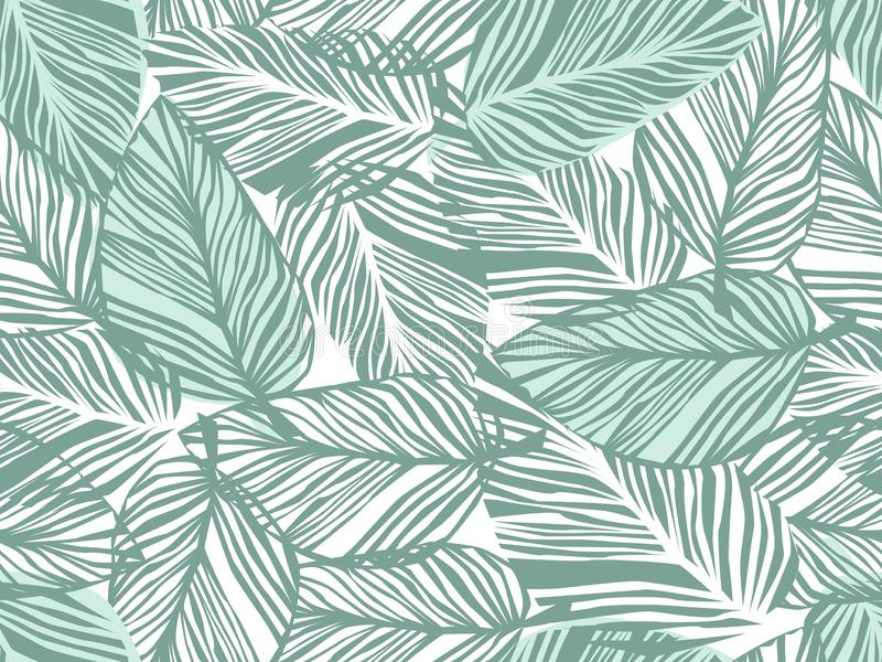 Tropikalny wzór, palma opuszcza bezszwowego wektorowego kwiecistego tło royalty ilustracja