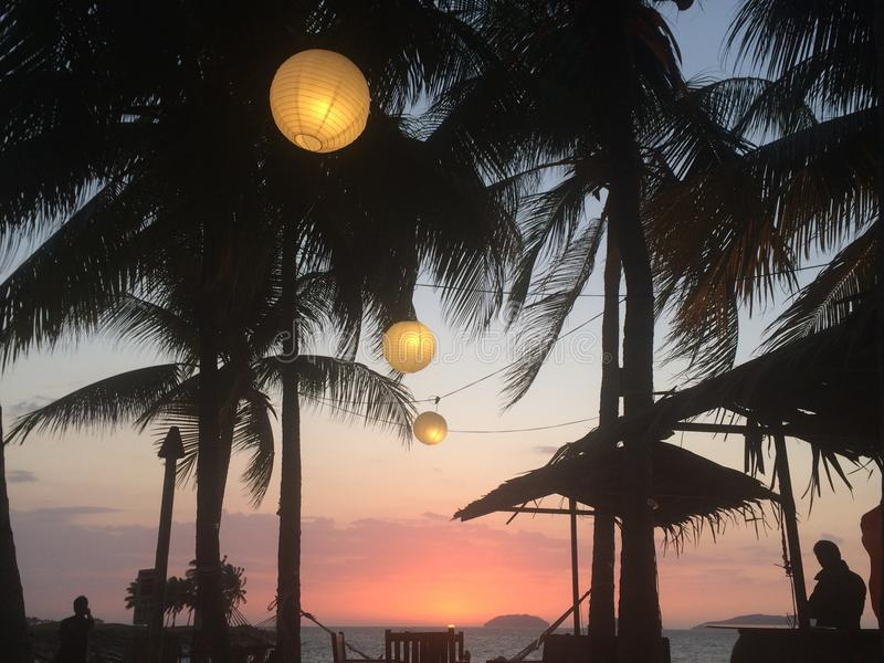 Tropikalny zmierzch obrazy royalty free