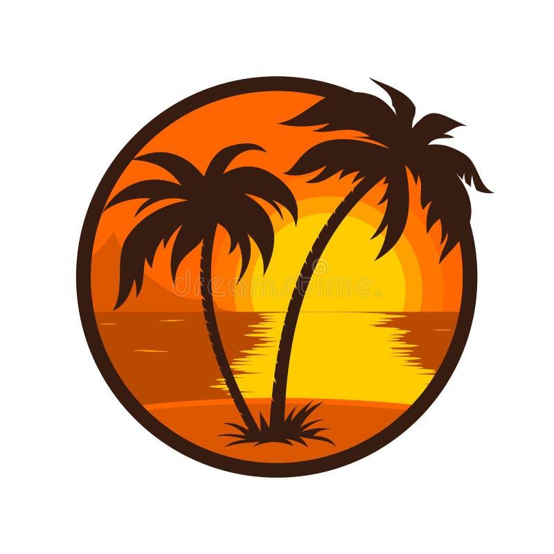Tropikalny zmierzch z drzewka palmowego round ikoną royalty ilustracja