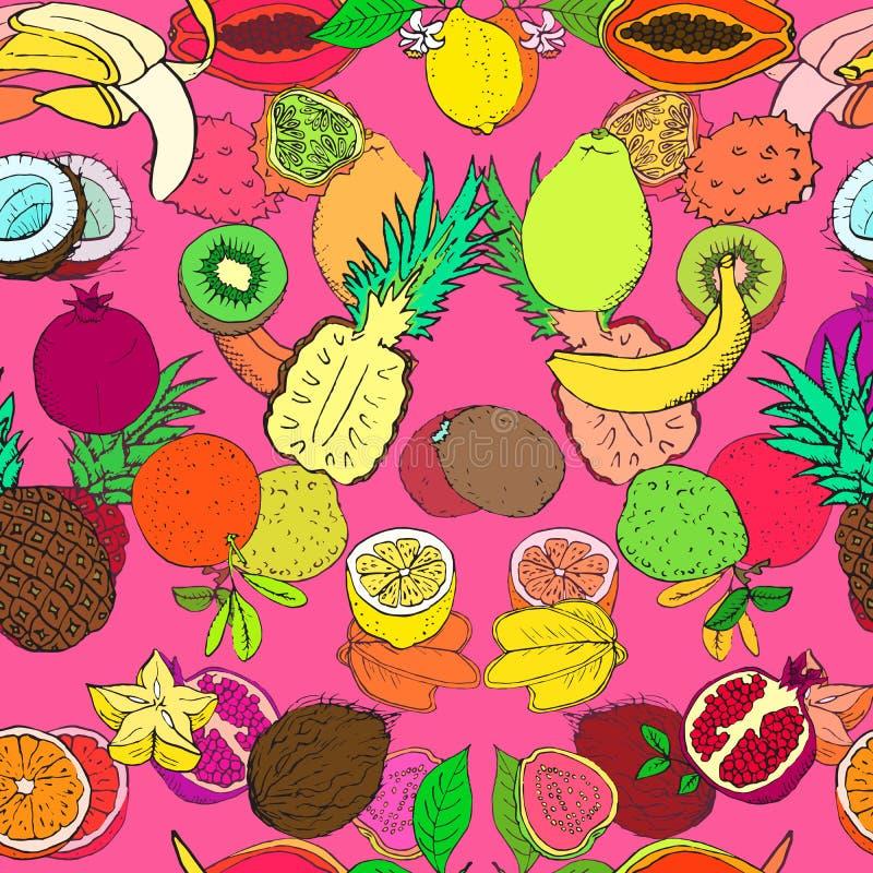 Tropikalnych owoc kolekcja, bezszwowy deseniowy projekt na jaskrawym różowym tle royalty ilustracja
