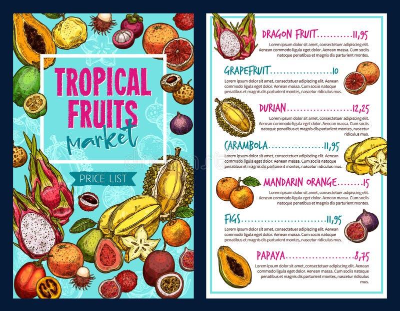 Tropikalnych owoc wektoru szablon royalty ilustracja