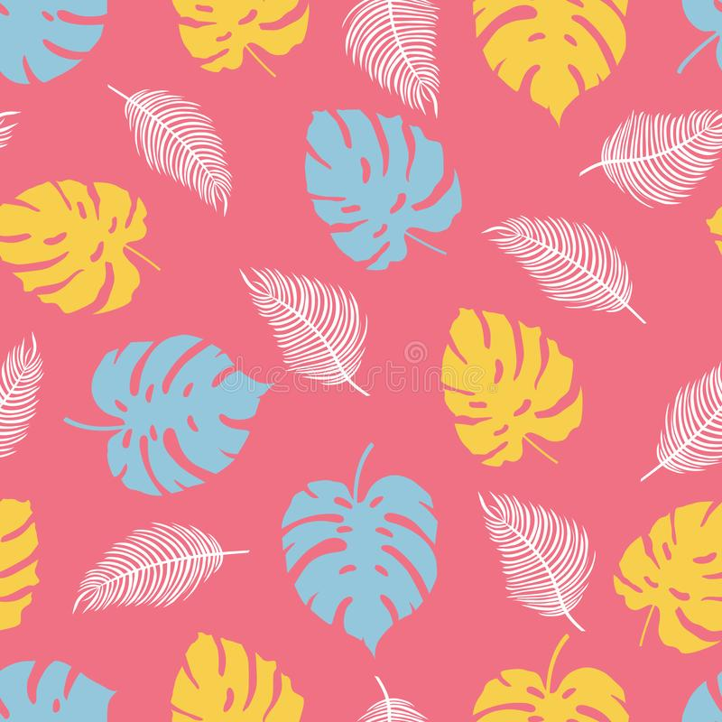 Tropikalnych rośliien wzór na różowym tle ilustracja wektor