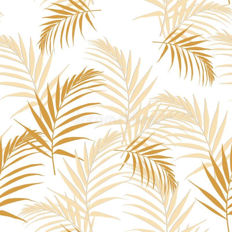 Tropisch abstract geel bladeren naadloos patroon met bladeren Mooie tropische geïsoleerde bladeren royalty-vrije illustratie